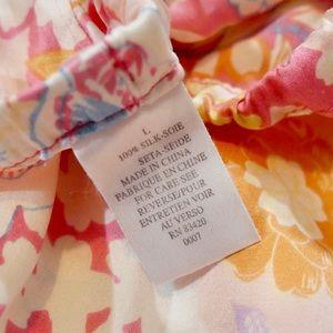 Vintage Intimates & Sleepwear - Vintage 100% Silk Matching Pink Patterned Pajamas